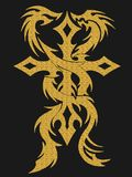 Gold cross and dragons illustration Stock Photo