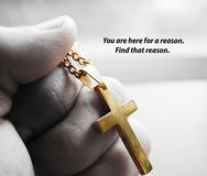 Gold Cross In Hand With Motvational Qoute Royalty Free Stock Photo