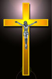 Gold cross. Isolated on white Royalty Free Stock Photography