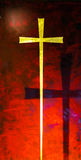 Gold cross on red background Stock Photography