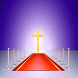 Gold cross, red carpet and fencing of chrome Royalty Free Stock Photography