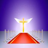 Gold cross, red carpet and fencing of chrome Royalty Free Stock Image