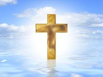 Gold cross on water Stock Photo