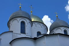 Gold crosses on domes Stock Photography