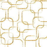 Gold crossing circled rectangles seamless pattern white Royalty Free Stock Images