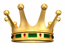 Gold Crown. A golden crown encrusted with jewels all the way around. Isolated on white Stock Photo