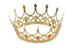 Gold crown. On the white Royalty Free Stock Image