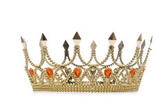 Gold crown. On the white Royalty Free Stock Images
