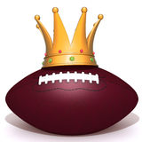 Gold crown american football  3d illustration. Over white background Stock Photography