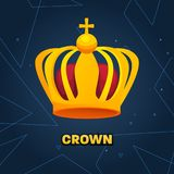 Gold crown. crown awards for winners, leadership. Royal king, queen. Luxury sign, icon of monarch or vintage coronet. Kinds of beautiful luxury. Vector Royalty Free Stock Images