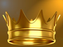 Gold crown. In gold background. non Stock Image