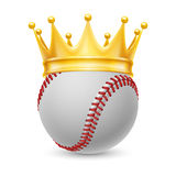 Gold crown on baseball Royalty Free Stock Images