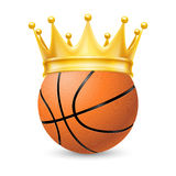 Gold crown on a basketball bal Stock Image