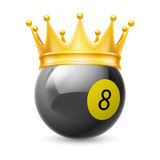 Gold crown on a billiard ball Royalty Free Stock Photography