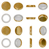 Gold crown cap. Isolated golden crown cap viewed from in different angles Stock Photography