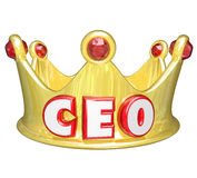 Gold Crown CEO Chief Executive Officer Words Top Ruler. CEO word or acronym on a gold crown to illustrate a top leader, manager or other executive position Stock Image