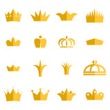 Gold crown clip art vector set. Stock Images