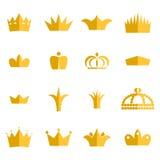 Gold crown clip art vector set. Stock Images