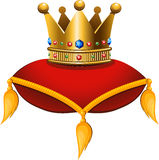 Gold crown on a crimson cushion. Vector illustration on a white background. EPS 10 Stock Photos