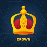 Gold crown. crown awards for winners, leadership. Royal king, queen. Luxury sign, icon of monarch or vintage coronet. Kinds of beautiful luxury. Vector Royalty Free Stock Image