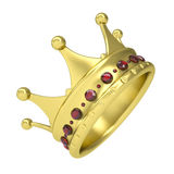 Gold crown decorated with rubies. Isolated render on a white background Stock Photography
