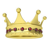 Gold crown decorated with rubies. Isolated render on a white background Royalty Free Stock Image