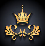 Gold Crown with decoration elements and shadow on black Royalty Free Stock Images