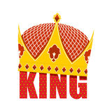 Gold Crown with diamonds. Crown for King. Vector illustration Ro Royalty Free Stock Photography