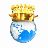 Gold crown on earth Royalty Free Stock Image