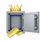 Gold crown, gold bullion and safe. Isolated on white background Royalty Free Stock Photos