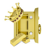 Gold crown, gold bullion and safe. Isolated on white background Stock Photography