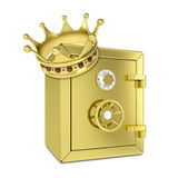 Gold crown and gold safe. Isolated on white background Royalty Free Stock Photos