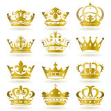 Gold crown icons set royalty free illustration