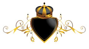Gold crown image 3. Gold crown on decorative shield isolated on a white background Royalty Free Stock Images