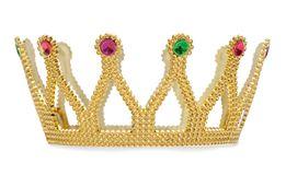 Golden crown isolated is on white background with clipping path. Gold crown isolated is on white background with clipping path Royalty Free Stock Photography