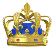 Gold crown with jewels stock illustration