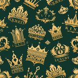 Gold crown king icons set nobility collection vintage jewelry sign vector illustration seamless pattern background Stock Image