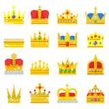 Gold crown king icons set nobility collection vintage jewelry sign vector illustration Stock Photography