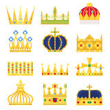 Gold crown of the king icon set nobility majestic collection insignia and imperial prince vintage jewelry kingdom queen. Royal classic sign vector illustration Royalty Free Stock Photo