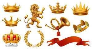 Gold crown of the king. Laurel wreath, trumpet, lion, ribbon. vector icon set