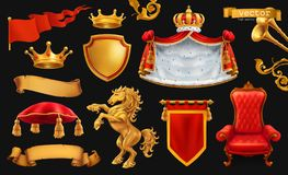 Gold crown of the king. Royal chair, mantle, pillow. 3d vector icon set on black royalty free illustration