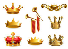 Gold crown of the king. Vector icon set Royalty Free Stock Photo