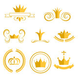 Gold crown logos and badges clip art vector set. Stock Photo