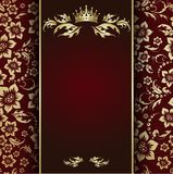 Gold crown. Luxurious and elegant golden floral ornament pattern on burgundy background Stock Photo
