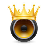 Gold crown on a musical dynamics Royalty Free Stock Photography