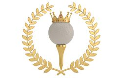 Free Gold Crown On Golf Ball And Golden Olive Branch Isolatedon White Stock Photography - 126853432