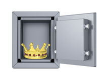 Gold crown in open safe. Isolated on white background Stock Photo