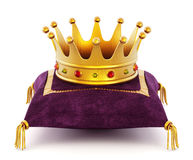 Gold Crown on the pillow. Gold Crown on the purple pillow isolated on white background vector illustration