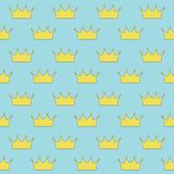Gold crown princess or queen on blue background seamless pattern. Vector stock illustration