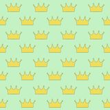 Gold crown princess or queen on light green background seamless. Pattern vector stock illustration